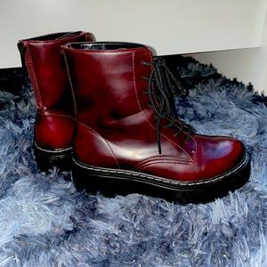Steve Madden Burgundy Faux Leather Boots